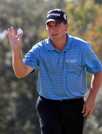 LAKE BUENA VISTA, FL - NOVEMBER 13:  Roland Thatcher reacts to a birdie on the 7th hole during the third round of the Children's Miracle Network Classic at the Disney Palm and Magnolia course on November 13, 2010 in Lake Buena Vista, Florida.  (Photo by Sam Greenwood/Getty Images)