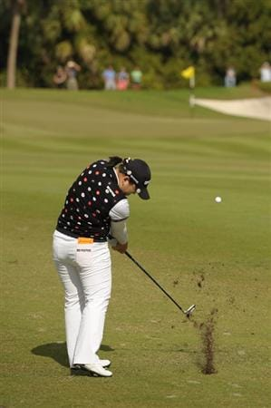 WEST PALM BECH, FL - NOVEMBER 23:  Ji-Yai Shin of South Korea hits her approach to the 12th green during the final round of the ADT Championship at the Trump International Golf Club on November 23, 2008 in West Palm Beach, Florida.  (Photo by Montana Pritchard/Getty Images)