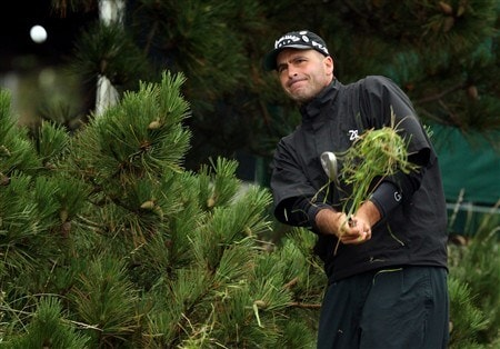 SOUTHPORT, UNITED KINGDOM - JULY 18:  Rocco Mediate of USA plays out of the trees on the 11th during the second round of the 137th Open Championship on July 18, 2008 at Royal Birkdale Golf Club, Southport, England.  (Photo by Ross Kinnaird/Getty Images)