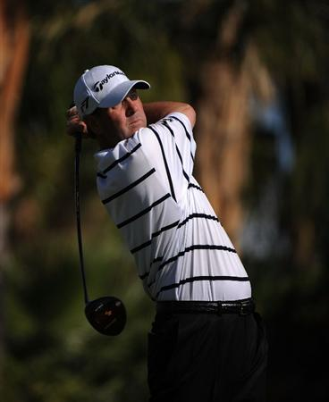 LA QUINTA, CA - DECEMBER 08:  Harrison Frazar makes a tee shot during the final round of the 2008 PGA Tour Qualifying Tournament on December 8, 2008 at the PGA West Golf Club in La Quinta, California.  (Photo by Robert Laberge/Getty Images)