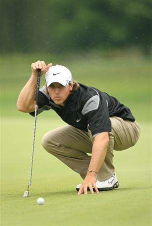 COLUMBUS, OH - JULY 30:  Garrett Osborn lines up his birdie putt on the fourth hole during the first round of the Nationwide Children's Hospital Invitational at The Ohio State Golf Club on July 30, 2009 in Columbus, Ohio. (Photo by Hunter Martin/Getty Images)