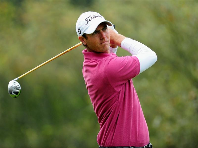 HILVERSUM, NETHERLANDS - SEPTEMBER 09:  Nicolas Colsaerts of Belgium plays his tee shot on the 14th hole during the first round of  The KLM Open Golf at The Hillversumsche Golf Club on September 9, 2010 in Hilversum, Netherlands  (Photo by Stuart Franklin/Getty Images)
