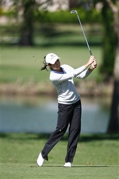 BROKEN ARROW, OK - MAY 02: Lorena Ochoa of Mexico hits a shot on the 7th hole during the second round of the SemGroup Championship presented by John Q. Hammons on May 2, 2008 at Cedar Ridge Country Club in Broken Arrow, Oklahoma. (Photo by G. Newman Lowrance/Getty Images)