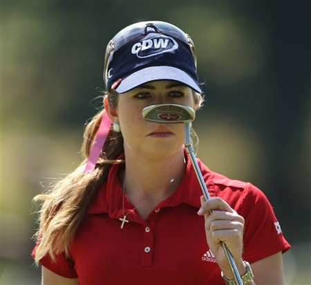 SUNNINGDALE, UNITED KINGDOM - JULY 30:  Paula Creamer of the USA gestures on the 18th green during practice for the 2008 Ricoh Women's British Open at Sunningdale Golf Club on July 30, 2008 in Sunningdale, England.  (Photo by Warren Little/Getty Images)