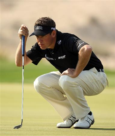 DOHA, QATAR - JANUARY 24:  Lee Westwood of England on the 16th green during the third round of the Commercialbank Qatar Masters at the Doha Golf Club on January 24,2009 in Doha, Qatar.  (Photo by Ross Kinnaird/Getty Images)