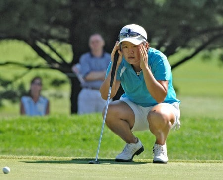 Young Jo studies a putt on the 11th green   during the final round of the Jamie Farr Owens Corning Classic July 10, 2005.Photo by Al Messerschmidt/WireImage.com