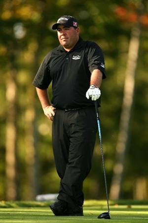 VERONA, NY - OCTOBER 03:  Kevin Stadler wait to tee off on the 17th tee during the third round of the 2009 Turning Stone Resort Championship at Atunyote Golf Club held on October 3, 2009 in Verona, New York.  (Photo by Chris Trotman/Getty Images)