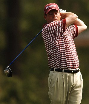 Shaun Micheel hits from the sixth tee during the second round of the 2005 Shell Houston Open, at the Redstone Golf Club in Houston, Texas April 22, 2005.Photo by Steve Grayson/WireImage.com