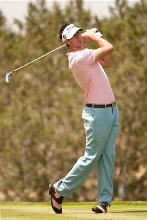 SAN ANTONIO, TX - APRIL 16: Cameron Tringale follows through on a tee shot during the third round of the Valero Texas Open at the AT&T Oaks Course at TPC San Antonio on April 16, 2011 in San Antonio, Texas. (Photo by Darren Carroll/Getty Images)