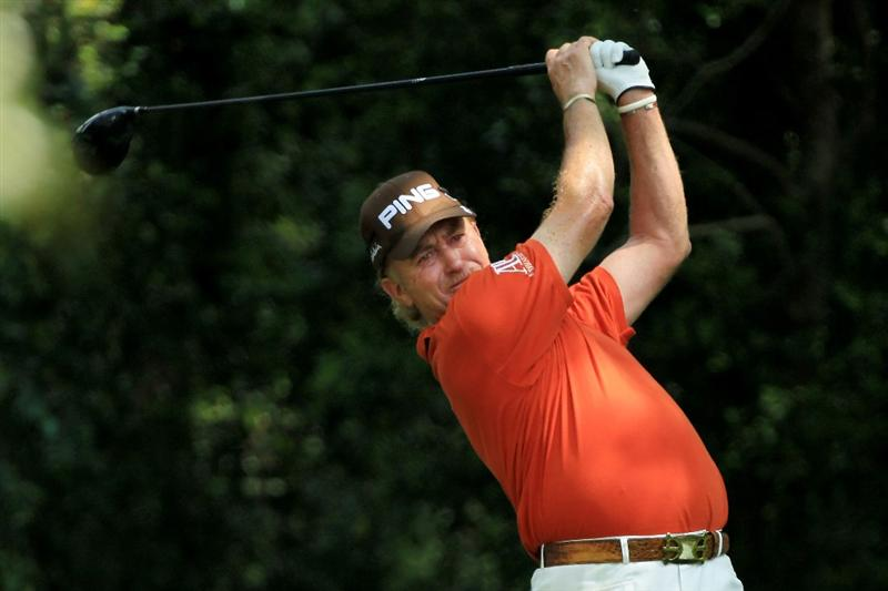AUGUSTA, GA - APRIL 09:  Miguel Angel Jimenez of Spain watches his tee shot on the second hole during the third round of the 2011 Masters Tournament at Augusta National Golf Club on April 9, 2011 in Augusta, Georgia.  (Photo by David Cannon/Getty Images)