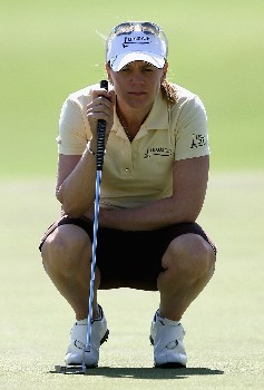 PERTH, AUSTRALIA - DECEMBER 08:  Annika Sorenstam of Team International lines up a put during day two of the Lexus Cup 2007 at the The Vines Resort & Country Club December 8, 2007 in Perth, Australia.  (Photo by Paul Kane/Getty Images)