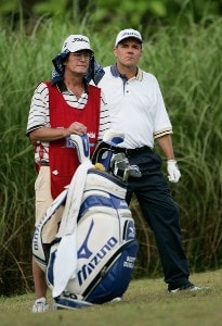 Scott Dunlap (R) decides on a club selection at the 16th tee during the fourth round of the Movistar Panama Championship at Club de Golf de Panama January 27, 2008 in Panama City, Panama. Nationwide Tour - 2008 Movistar Panama Championship - Final RoundPhoto by Stan Badz/PGA TOUR/Getty Images