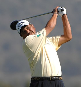 Edurado Romero tees off on the 3rd hole during the final round of the Charles Schwab Championship Cup on October 28, 2007 at the Sonoma Golf Club in Sonoma California. Champions Tour - 2007 Charles Schwab Cup Championship - Final RoundPhoto by Marc Feldman/WireImage.com