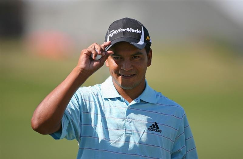 BROUSSARD, LA - MARCH 28: Fabian Gomez of Argentina reacts after making birdie on the 12th hole during the final round of the Chitimacha Louisiana Open at Le Triomphe Country Club on March 28, 2010 in Broussard, Louisiana. (Photo by Hunter Martin/Getty Images)