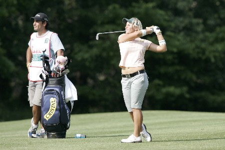 Nicole Perrot hits her approach shot on the 15th fairway during the second round at the Chick-fil-A Charity Championship May 13, 2005, at Eagles Landing Country Club, in Stockbridge, Georgia.