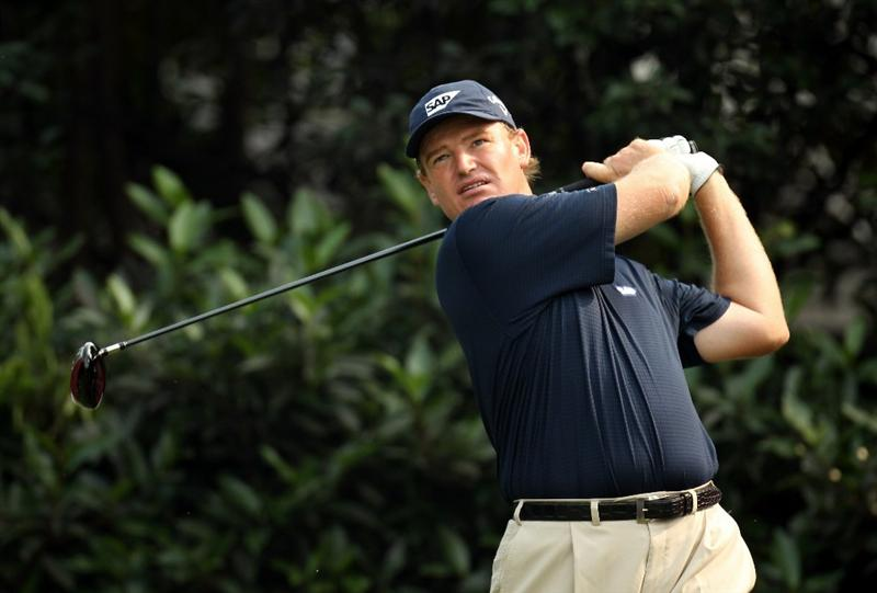 SHANGHAI, CHINA - NOVEMBER 05:  Ernie Els of South Africa during the second round of the WGC - HSBC Champions at Sheshan International Golf Club on November 5, 2010 in Shanghai, China.  (Photo by Ross Kinnaird/Getty Images)