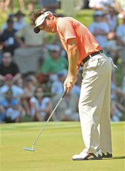 MEMPHIS, TN - JUNE 07:  Trevor Immelman putts for a birdie on the 17th hole during the third round of the Standford St. Jude Championship at the TPC Southwind on June 7, 2008 in Memphis, Tennessee.  (Photo by Marc Feldman/Getty Images)