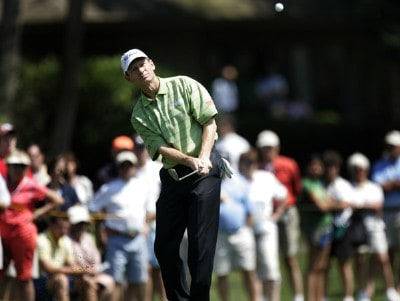 Brad Faxon chips onto the 8th green during the first round of the 2007 Verizon Heritage Classic at Harbour Town Golf Links in Hilton Head Island on April 9 PGA TOUR - 2007 Verizon Heritage - First RoundPhoto by Steve Grayson/WireImage.com