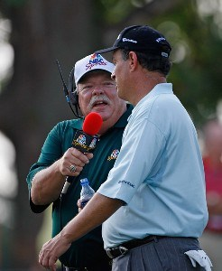 Roger Maltbie of NBC interviews Loren Roberts as they walk down the 18th fairway during the fourth round of the Constellation Energy Senior Players Championship at Baltimore Country Club/Five Farms (East Course) October 7, 2007 in Timonium, Maryland. Champions Tour - 2007 Constellation Energy Senior Players Championship - Final RoundPhoto by Chris Condon/PGA TOUR/WireImage.com