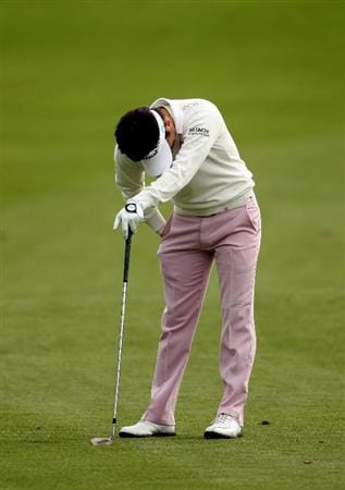 PEBBLE BEACH, CA - FEBRUARY 11:  Ryuji Imada of Japan reacts after hitting a bad shot on the first hole during the first round of the AT&T Pebble Beach National Pro-Am at at the Spyglass Hill Golf Course on February 11, 2010 in Pebble Beach, California.  (Photo by Ezra Shaw/Getty Images)