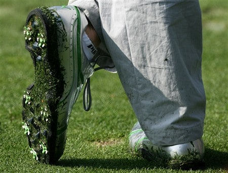 AUGUSTA, GA - APRIL 09:  The golf shoes of Geoff Ogilvy of Australia are seen during the third day of practice prior to the start of the 2008 Masters Tournament at Augusta National Golf Club on April 9, 2008 in Augusta, Georgia.  (Photo by Harry How/Getty Images)