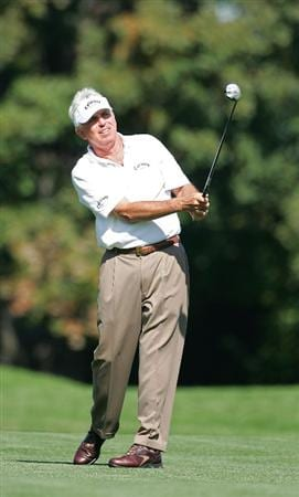TIMONIUM, MD - OCTOBER 10:  Dave Eichelberger plays a shot from the fairway during the second round of the Constellation Energy Senior Players Championship at Baltimore Country Club East Course held on October 10, 2008 in Timonium, Maryland  (Photo by Michael Cohen/Getty Images)