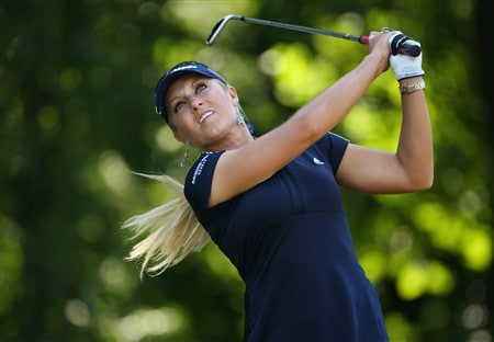EVIAN, FRANCE - JULY 26:  Natalie Gulbis of USA  tees off on the second hole during the third round of the Evian Masters at the Evian Masters Golf Club on July 26, 2008 in Evian, France.  (Photo by Andrew Redington/Getty Images)