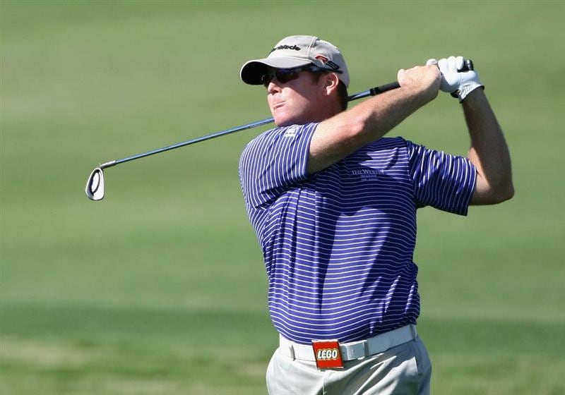 SCOTTSDALE, AZ - OCTOBER 22:  D.A. Points hits his second shot on the 18th hole during the first round of the Frys.com Open at Grayhawk Golf Club on October 22, 2009 in Scottsdale, Arizona.  (Photo by Christian Petersen/Getty Images)