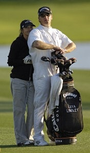 Leta Lindley and her husband Matt during the Celebrity Pro-Am at the Kraft Nabisco Championships at The Mission Hills Country Club in Rancho Mirage, California on Wednesday, March 29, 2006.Photo by Steve Levin/WireImage.com