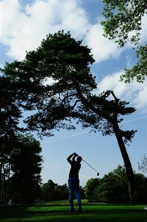 HILVERSUM, NETHERLANDS - SEPTEMBER 11:  Christian Nilsson of Sweden plays his tee shot on the 18th hole during the third round of  The KLM Open Golf at The Hillversumsche Golf Club on September 11, 2010 in Hilversum, Netherlands.  (Photo by Stuart Franklin/Getty Images)