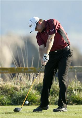 PEBBLE BEACH, CA - FEBRUARY 12:  D.A. Points hits tees off on the 18th hole during the third round of the AT&T Pebble Beach National Pro-Am at the Pebble Beach Golf Links on February 12, 2011 in Pebble Beach, California.  (Photo by Ezra Shaw/Getty Images)