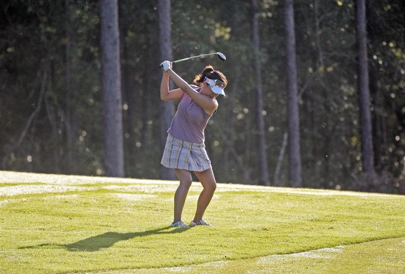 MOBILE, AL - SEPTEMBER 11:  Jane Park hits her approach shot to the 1st green during first round play in the Bell Micro LPGA Classic at Magnolia Grove Golf Course on September 11, 2008 in Mobile, Alabama.  (Photo by Dave Martin/Getty Images)