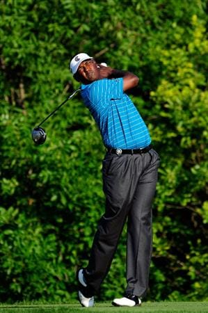 CHASKA, MN - AUGUST 14:  Vijay Singh of Fiji hits his tee shot on the tenth hole during the second round of the 91st PGA Championship at Hazeltine National Golf Club on August 14, 2009 in Chaska, Minnesota.  (Photo by Sam Greenwood/Getty Images)