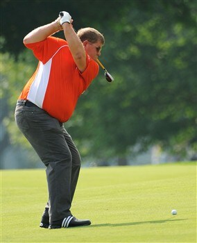 BLOOMFIELD HILLS, MI - AUGUST 05:  John Daly hits a shot during a practice round prior to the 90th PGA Championship at Oakland Hills Country Club on August 5, 2008 in Bloomfield Township, Michigan.  (Photo by Sam Greenwood/Getty Images)