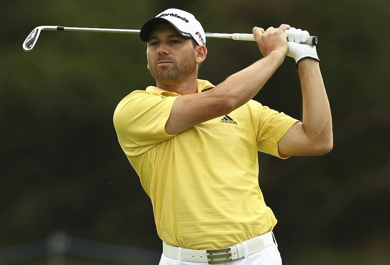 MELBOURNE, AUSTRALIA - NOVEMBER 12:  Sergio Garcia of Spain plays a shot during round 2 of the Australian Masters at The Victoria Golf Club on November 12, 2010 in Melbourne, Australia.  (Photo by Lucas Dawson/Getty Images)