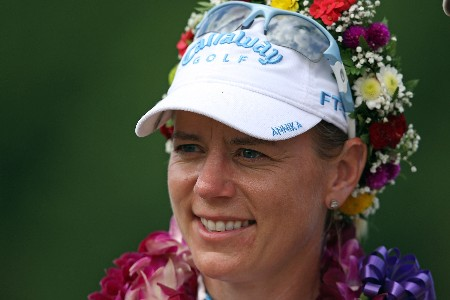 KAHUKU, HI - FEBRUARY 16:  Annika Sorenstam of Sweden smiles after winning at the SBS Open on February 16, 2008  at the Turtle Bay Resort in Kahuku, Hawaii.  (Photo by Andy Lyons/Getty Images)