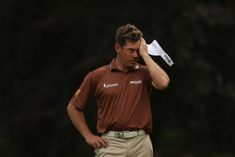 LUSS, UNITED KINGDOM - JULY 12:  Lee Westwood of England shows his dejection on the 13th hole during the Final Round of The Barclays Scottish Open at Loch Lomond Golf Club on July 12, 2009 in Luss, Scotland. (Photo by Warren Little/Getty Images)