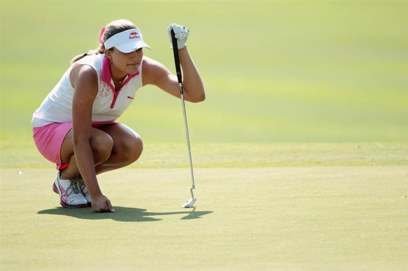 MOBILE, AL - APRIL 30:  Alexis Thompson lines up a putt on the 18th green during the third round of the Avnet LPGA Classic at the Crossings Course at the Robert Trent Jones Trail at Magnolia Grove on April 30, 2011 in Mobile, Alabama.  (Photo by Scott Halleran/Getty Images)