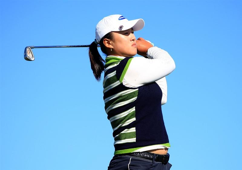 DAYTONA BEACH, FL - DECEMBER 07:  Amy Yang of South Korea hits her tee shot on the 14th hole during the final round of the LPGA Qualifying School at LPGA International on December 7, 2008 in Daytona Beach, Florida.  (Photo by Scott Halleran/Getty Images)