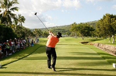 K.J. Choi of South Korea hits his tee shot during the third round of the Sony Open in Hawaii held at Waialae Country Club January 12, 2008 in Honolulu, Hawaii. PGA TOUR - 2008 Sony Open in Hawaii - Third RoundPhoto by Stan Badz/PGA TOUR/WireImage.com