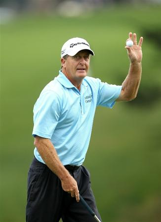 SAN FRANCISCO - NOVEMBER 05:  Fred Funk waves to the crowd after he saved par on the 15th hole during round 2 of the Charles Schwab Cup Championship at Harding Park Golf Course on November 5, 2010 in San Francisco, California.  (Photo by Ezra Shaw/Getty Images)