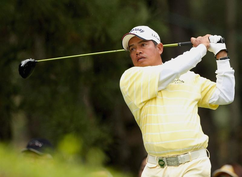 MIYAZAKI, JAPAN - NOVEMBER 23:  Prayad Marksaeng of Thailand tees off on the 14th hole during the final round of the Dunlop Phoenix Tournament 2008 at Phoenix Country Club on November 23, 2008 in Miyazaki, Japan.  (Photo by Koichi Kamoshida/Getty Images)