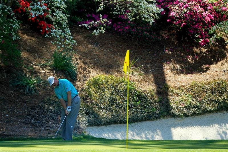 AUGUSTA, GA - APRIL 07:  Ernie Els of South Africa hits his third shot on the 12th hole during the first round of the 2011 Masters Tournament at Augusta National Golf Club on April 7, 2011 in Augusta, Georgia.  (Photo by David Cannon/Getty Images)