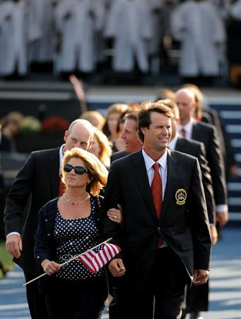 LOUISVILLE, KY - SEPTEMBER 18:  Paul Azinger, captain of the USA team walks out with his wife Toni and his team after the opening ceremony for the 2008 Ryder Cup at Valhalla Golf Club on September 18, 2008 in Louisville, Kentucky.  (Photo by Harry How/Getty Images)
