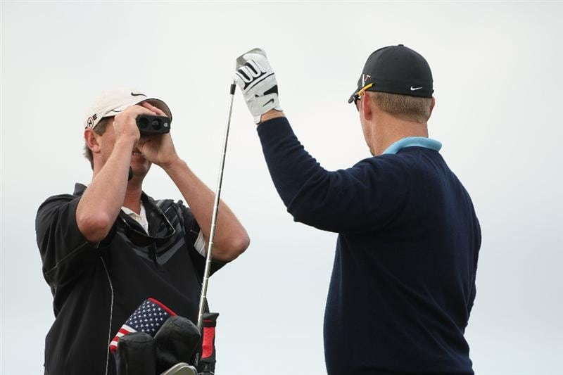 TURNBERRY, SCOTLAND - JULY 14:  David Duval of USA prepares to tee off as his caddy checks a yardage during a practice round prior to the 138th Open Championship on July 14, 2009 on the Ailsa Course, Turnberry Golf Club, Turnberry, Scotland.  (Photo by Andrew Redington/Getty Images)