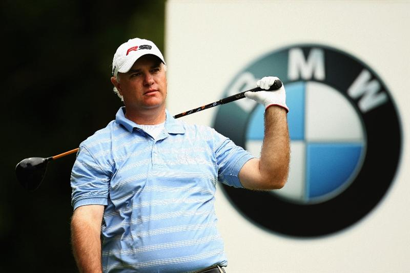 WENTWORTH, ENGLAND - MAY 23: Stephen Dodd of Wales watches his tee shot on the 3rd hole during the Third Round of the BMW PGA Championship at Wentworth on May 23, 2009 in Virginia Water, England.  (Photo by Ross Kinnaird/Getty Images)