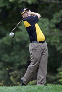 Ben Curtis hits his tee shot on the 9th hole during the third round of the 84 LUMBER Classic held on the Mystic Rock Course at Nemacolin Woodlands Resort & Spa in Farmington, Pennsylvania, on September 16, 2006.Photo by Hunter Martin/WireImage.com