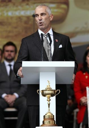 NEWPORT, WALES - SEPTEMBER 30:  USA Team Captain Corey Pavin speaks during the Opening Ceremony prior to the 2010 Ryder Cup at the Celtic Manor Resort on September 30, 2010 in Newport, Wales.  (Photo by Ross Kinnaird/Getty Images)