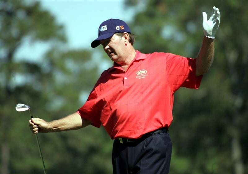WOODLANDS, TX - OCTOBER 18:  Bob Gilder reacts after his shot on the sixth hole during the second round of the Administaff Small Business Classic at the Woodlands Country Club on October 18, 2008 in Woodlands, Texas. (photo by Marc Serota/ Getty Images)