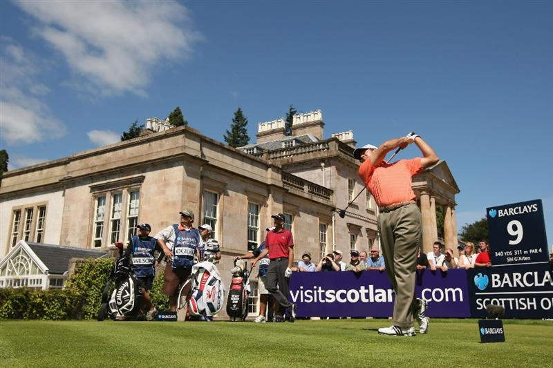 LUSS, SCOTLAND - JULY 10:  Retief Goosen of South Africa tees off on the 9th hole during the Second Round of The Barclays Scottish Open at Loch Lomond Golf Club on July 10, 2009 in Luss, Scotland.  (Photo by Warren Little/Getty Images)